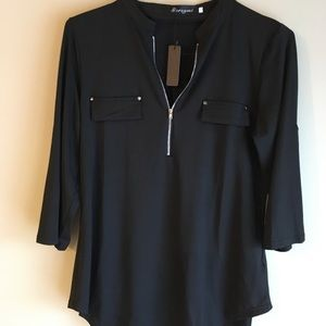 NWT 3/4 Sleeve Zip Up Tunic Blouse